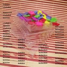 50 pces axbxbcm pvc transparente caixa de plástico caixa de presente de casamento caixa de embalagem para presentes festa de doces de casamento jóias de armazenamento de viagem