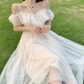 Платье феи женские рюшами платье с открытыми плечами элегантное платье из сетчатой ткани с длинными пляжные белые платья для женщин в африк...