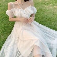 Vestido de fadas mulher plissado fora do ombro vestido elegante malha longa praia vestidos brancos para as mulheres festa 2021 coreano v pescoço bandagem novo