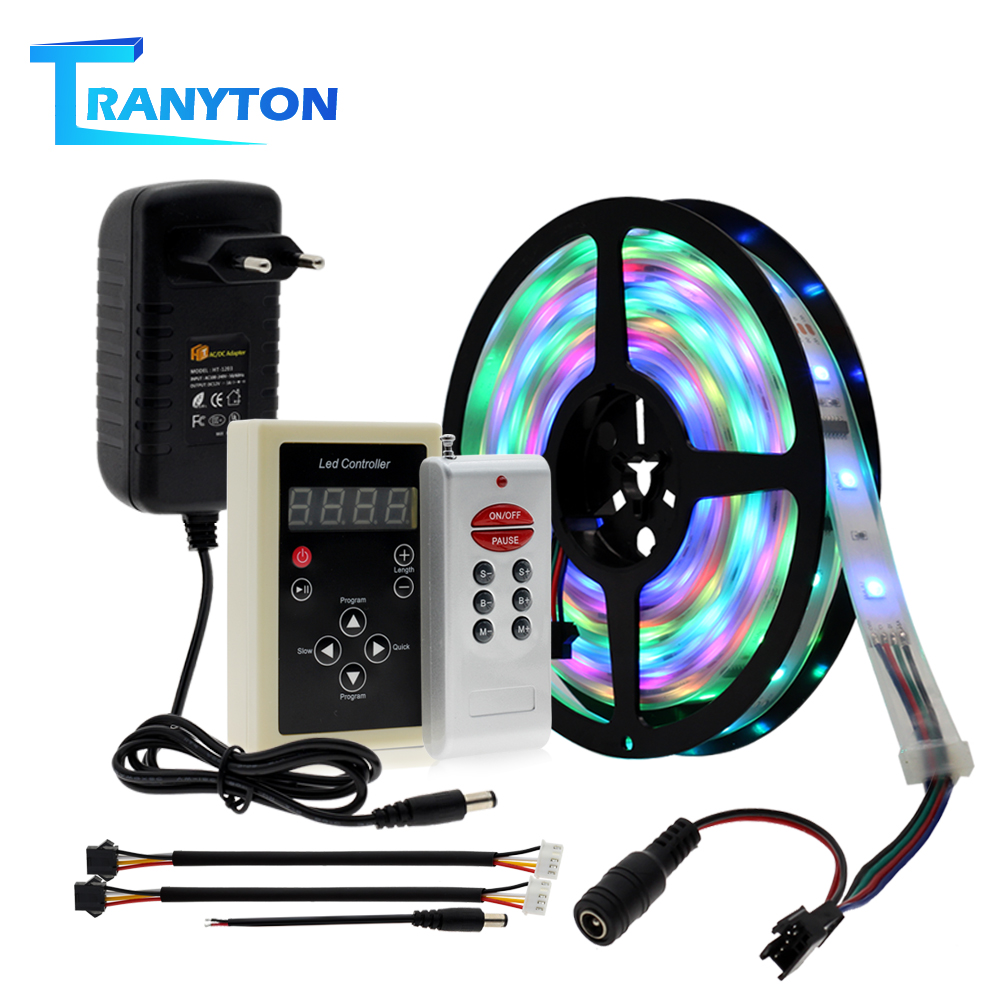 Dream Color RGB LED Strip 5050 30 LEDs/M IP67 Waterproof Indoor Outdopr Wall Decoration With 133 Program RF Controller + Adapter