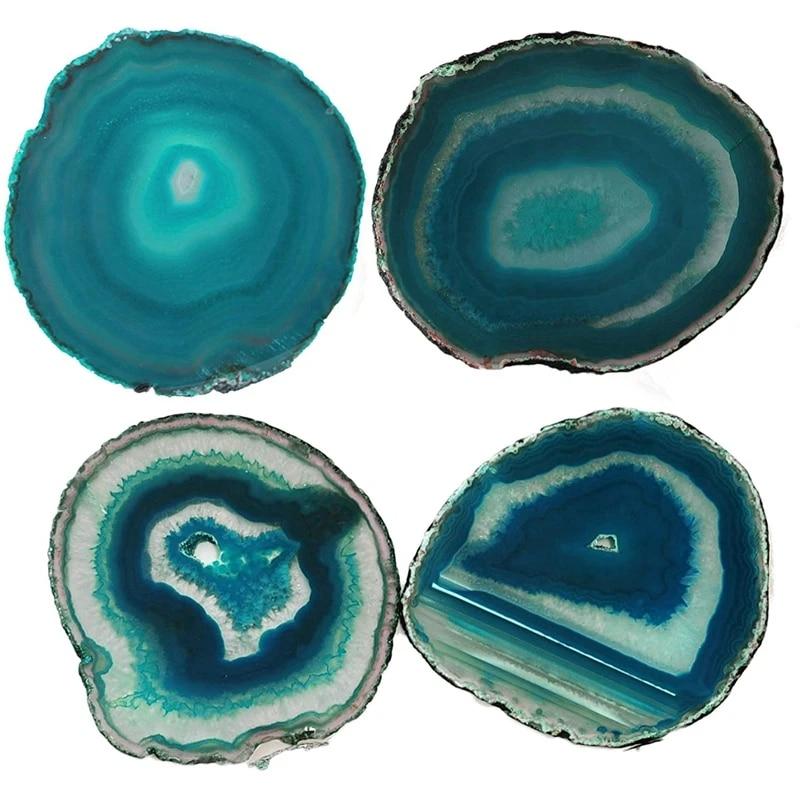 2Pcs Agate Slice Blue Agate Coaster Teacup Tray Decorative Design Stone Coaster