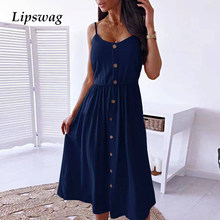 Elegant Buttoned V-Neck Strap Dress Women 2021 Summer Sexy Sleeveless Backless Party Dresses Lady Casual Solid Loose Maxi Dress