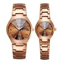 Кварцевые часы Lover  модные повседневные мужские и женские часы с золотым светом  водонепроницаемые  со стальным ремешком