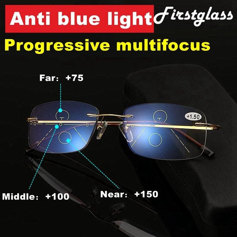 High Quality Frameless Anti Blue Light Reading Glasses Men Progressive Multifocal Presbyopic Glasses Women Rimless Ultra Light