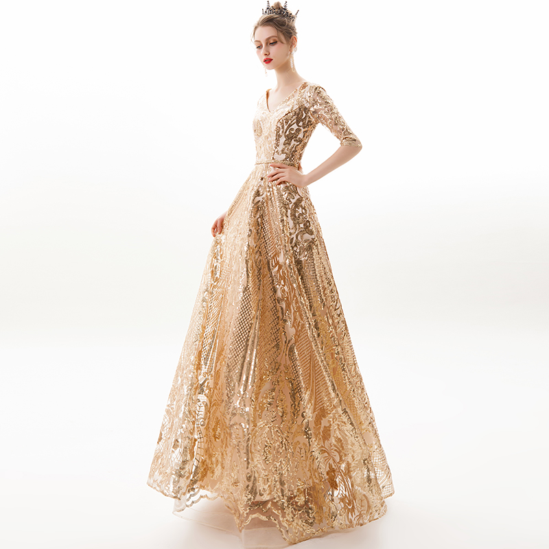 New V-neck Evening Dress Vestido De Festa Formal Party Dress Luxury Gold Long Sequin Prom Gowns Bride Half Sleeve Dresses