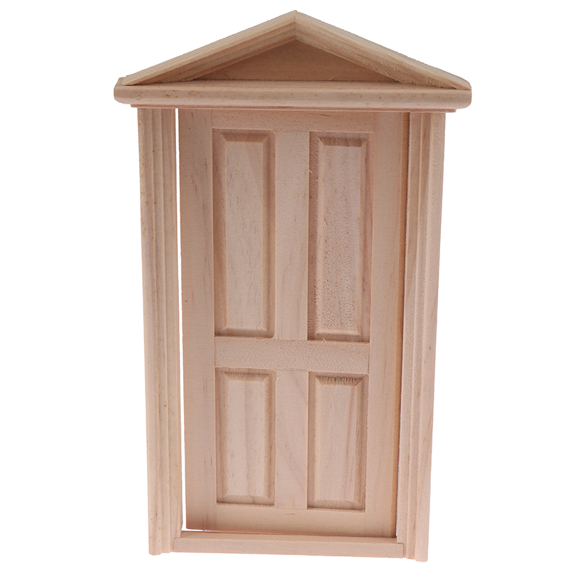 1:12 Doll Simulation House Miniatures DIY Wooden Spire Door Furniture Toy Supply