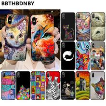Seni Potret Kucing Smart Cover Hitam Lembut Shell Ponsel Case untuk iPhone 11 Pro XS MAX 8 7 6 6S Plus X 5 5S SE XR Case(China)