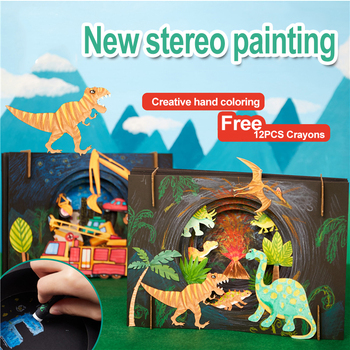 3D dinosaur drawing toys set Painting children's toys kindergarten education diy crafts kids toys for girls toys for children 05