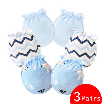 sky blue cotton mittens