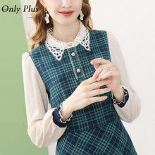 Plaid Dress Knitted O-Neck Long-Sleeve Only-Plus Elegant Women Party Green Wool Lace