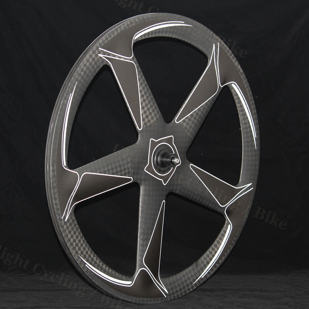 <font><b>5</b></font>-<font><b>Spokes</b></font> <font><b>Wheels</b></font> Road-Hub 700c Carbon Or Finishing Matte or Glossy OEM 3K/UD Carbon Wheelset for Track/ Road Bike Rims image