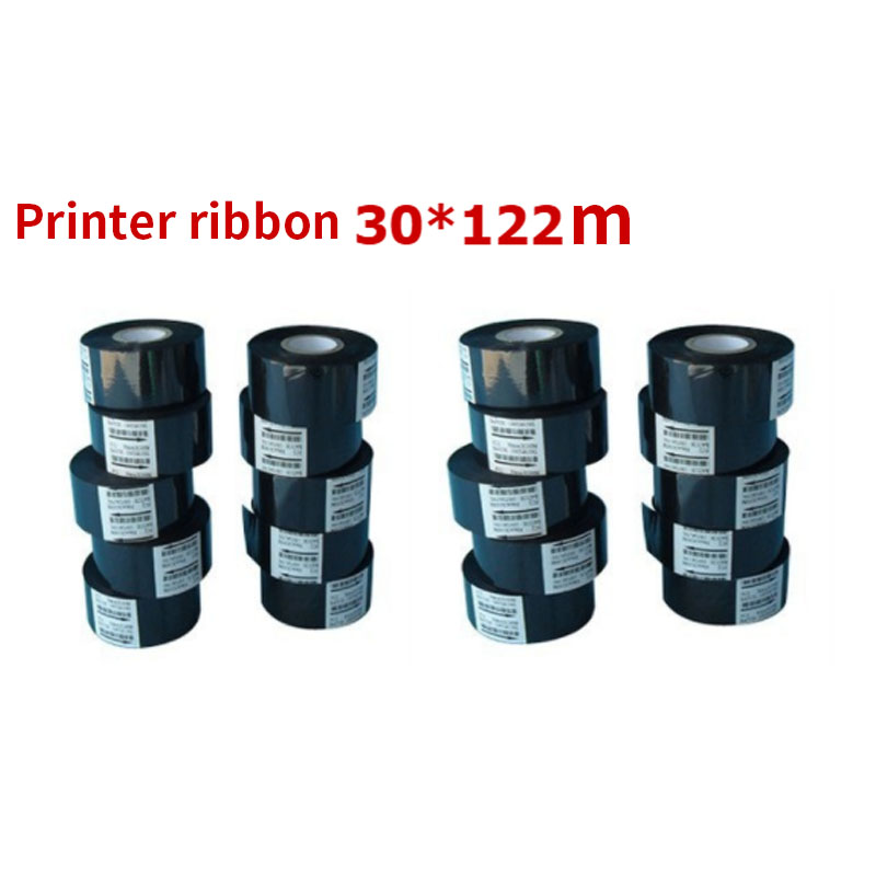 30MM * 122M Black Label Machine Ribbon Code Printer Ribbon Strip Printing Date Label Food Packaging Bag Shelf Life Accessories