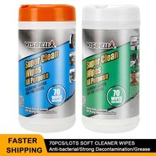 Visbella 70 unidades/lotes super molhado toalhetes forte descontaminação carro roda janela de couro cozinha limpador removedor mancha pintura cuidados