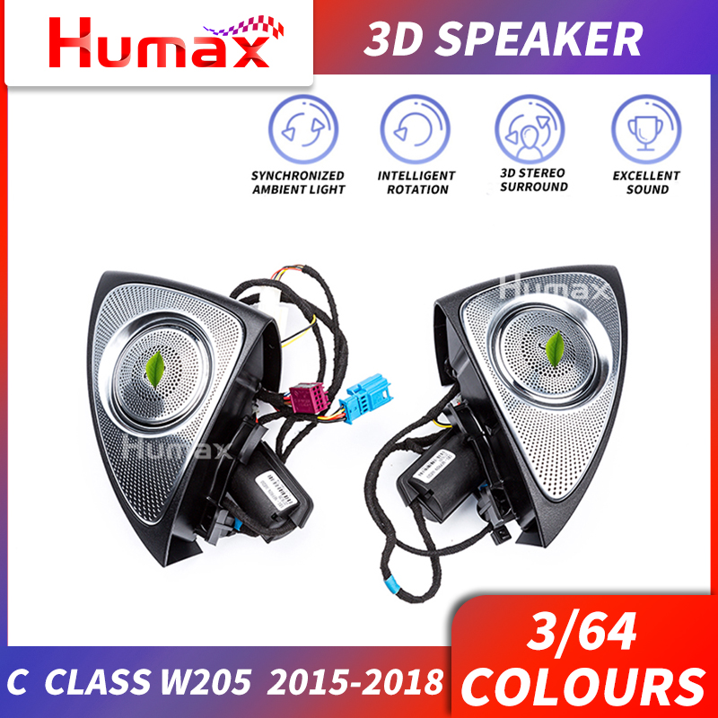 Alto-falante de áudio para a classe c w205 w213 3d alto-falante de som girando agudos roating de áudio 2015-2018 3d tweeter rotativo carro alto-falante luz
