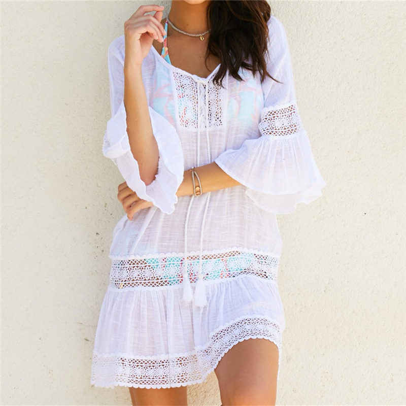 Bambus Baumwolle Sommer Pareo Strand Cover Up Sexy Bademode Frauen Badeanzug Cover Up Kaftan Strand Kleid Tunika Weiß Bademode # q382