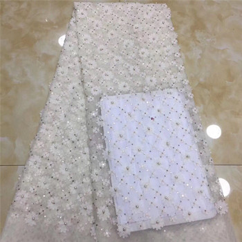 Most fashion white flower embroidery French net lace fabric with bead for wedding/party dress PDN660(5yards/pc)