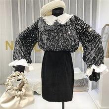 Бархатное винтажное платье в стиле пэчворк с блестками и длинным