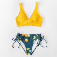 Bikini de cintura media con estampado de limón y amarillo para mujer, traje de baño Sexy de dos piezas con cordones 10