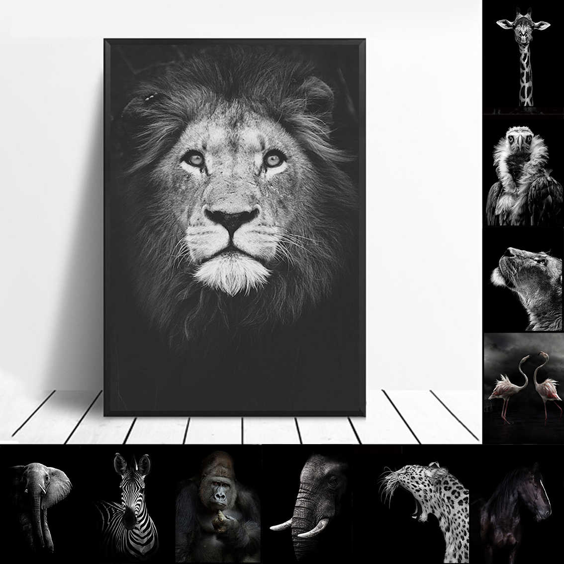 Nordic Canvas Painting Wall Art Africa Animal Lion Elephant Horse  Pictures Posters Print for Living Room Decoration Home Decor