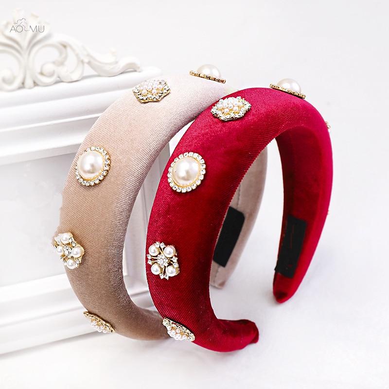 AOMU Luxury Thick Velvet Headbands Women Wide Imitation Pearl Head Band Headwear Elasticity Hairbands Female Hair Accessories