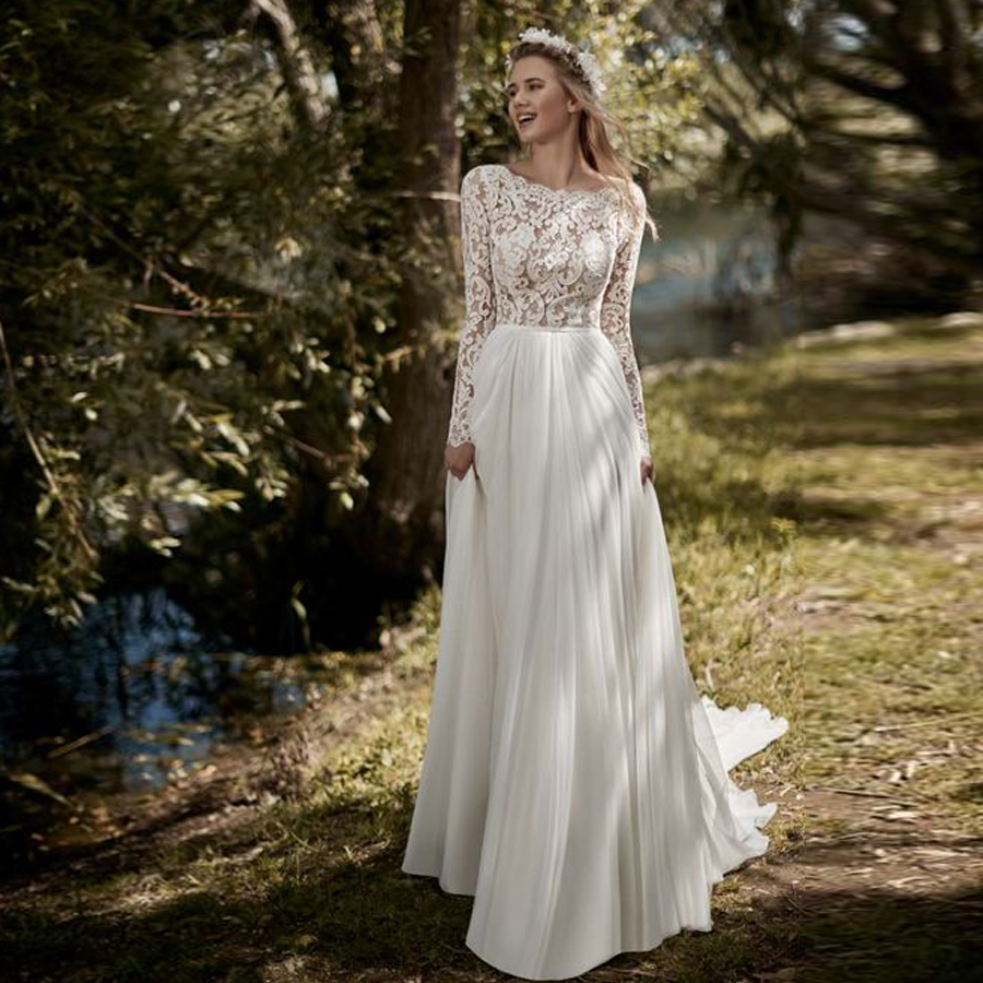 Full Upper Lace Scoop Neckline Long Sleeve A-line Wedding Dress Simple Cheap V-back Button With A Belt Sweep Train Bridal Dress