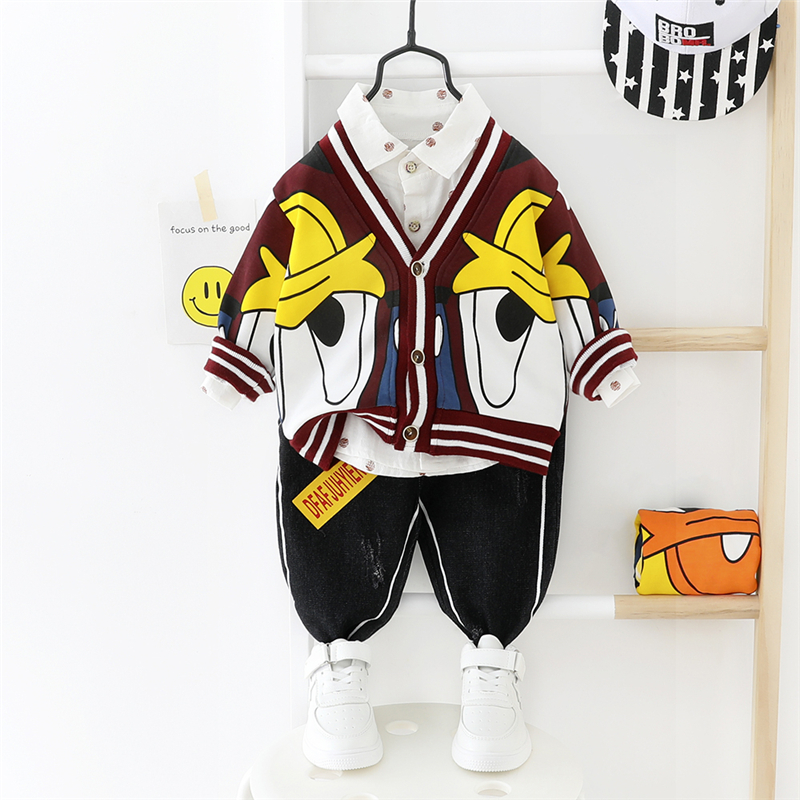 HYLKIDHUOSE 2020 Spring Baby Girls Boys Clothing Sets Cartoon Coats Shirt Pants Children Casual Clothes Toddler Infant Clothing