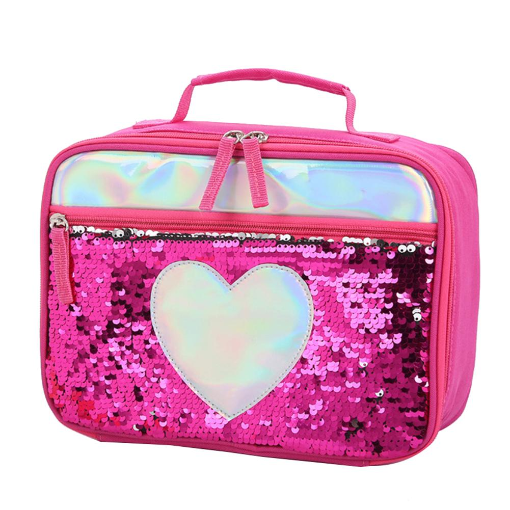 Heart Star Sequins Insulated Lunch Picnic Bag Food Handbag Storage Pouch School Lunch Container Loncheras Para Mujer