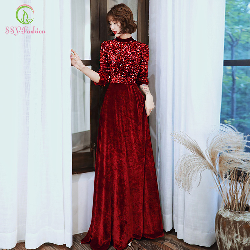 SSYFashion Winter New Vintage Wine Red Velour Evening Dress 3/4 Sleeve Floor-length Sequins Long Formal Gown Vestido De Noche