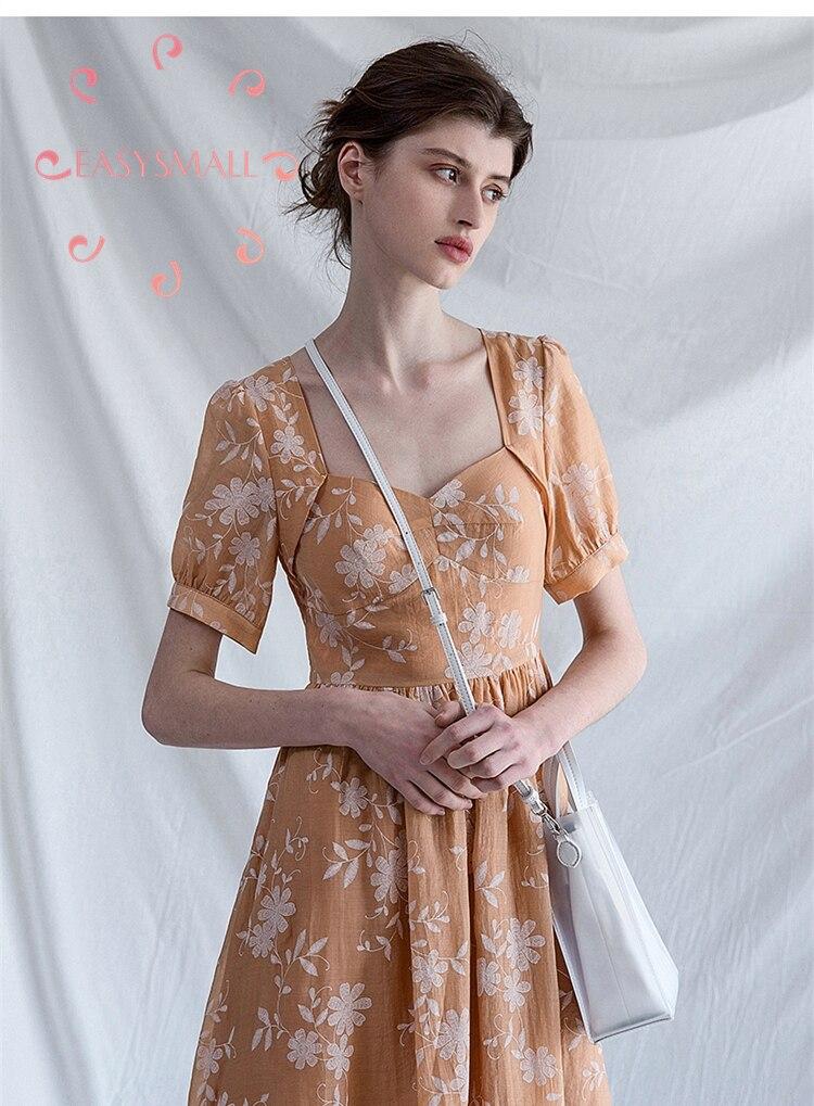 EASYSMALL femmes robe nouvelle Arrival2019 mode Palace style col carré exclusif haut de gamme Slim serré décontracté taille haute robe