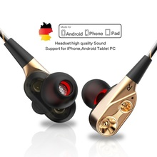 QKZ CK סדרת כפולה נהג אוזניות סטריאו בס ספורט ריצת אוזניות HIFI צג אוזניות דיבורית עם מיקרופון CK8 CK7 ck5