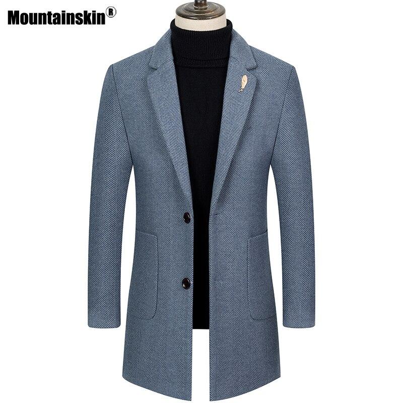 Mountainskin Mens Wool Herringbone Coat Winter Autumn Men Casual Thick Windbreaker Warm Windproof Woolen Long Jacket Male SA994