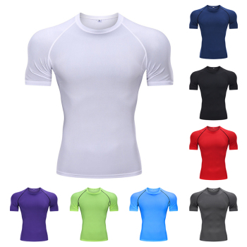 2021 Sports Fitness Clothing Men's Tight-fitting Quick-drying Short-sleeved Basketball Bottoming Football Running T-shirt 1