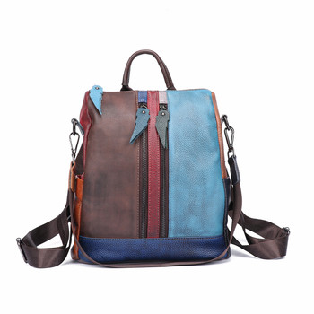 Panelled Soft Leather Handmade Vintage Women Backpack Female Bags Cow Leather Backpack Patchwork Colorful Bag