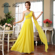One Shoulder Bridesmaid Gowns 2019 Chiffon Wedding Party Dress Long Dresses