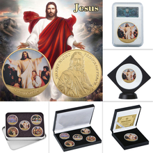 WR God Jesus Gold Metal Coins Sets Collectibles Art with Coin Holder Original Challenge Coin Metal Souvenir Gift Dropshipping