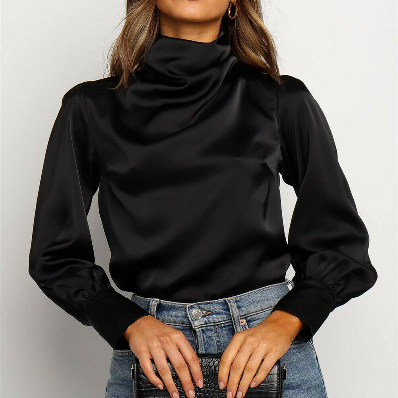 Womens Harajuku Hollow Long Sleeve Loose Ruched Turtleneck Top Shirt Ladies Autunmn Casual Blouse Tops Tee image