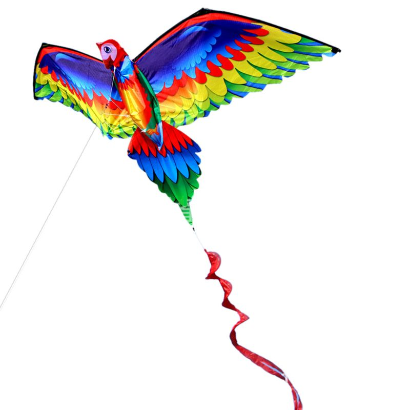 3D Parrot Kite Single Line Fly Kites with Tail and Handle for Adult and Kid