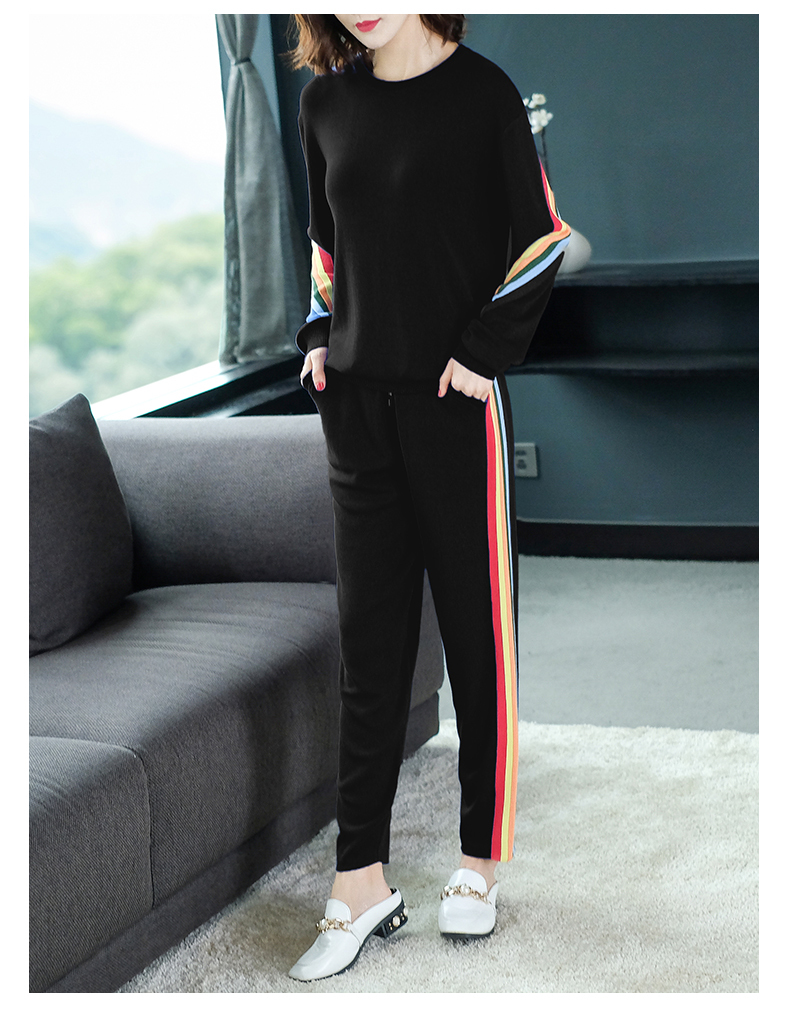 2019 Autumn warm Knitted Striped Two Piece Sets Outfits Women Sweater Pants Suits Fashion Elegant Korean Tracksuit matching Sets