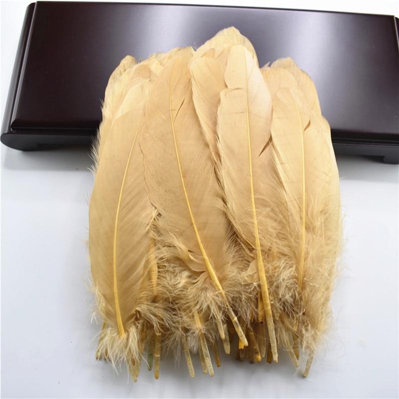 Жесткий полюс, натуральные гусиные перья для рукоделия, 5-7 дюймов/13-18 см, самодельные ювелирные изделия, перо, свадебное украшение для дома - Цвет: Light  Coffee