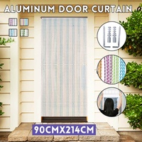 214x90CM Aluminum Door Curtain Window Room Divider Curtain Valance Metal Chain Fly Insect Blinds Screen Pest Control