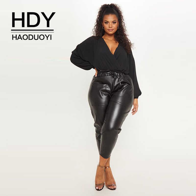 HDY Haoduoyi Лето 2019 плюс размер Модный уличный сексуальный стиль Глубокий v-образный вырез летучая мышь длинный рукав Htype свободный черный женский боди