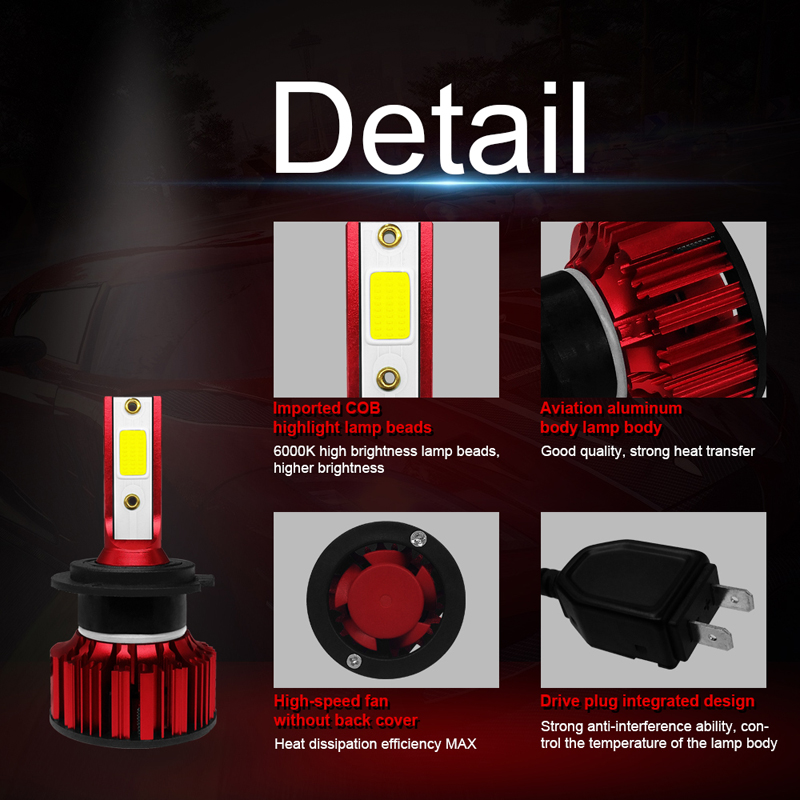 XFZMZBZ COB LED Headlight H7 H11 H1 H4 9005 9006 50w 6000k 6000Lm AUTO Car Light Led headlamp in Car Headlight Bulbs LED from Automobiles Motorcycles