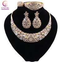 CYNTHIA Crystal African Beads Jewelry Set Nigerian Wedding For Women Necklace Ethiopian Jewelry Wedding Gold Set Costume Jewelry