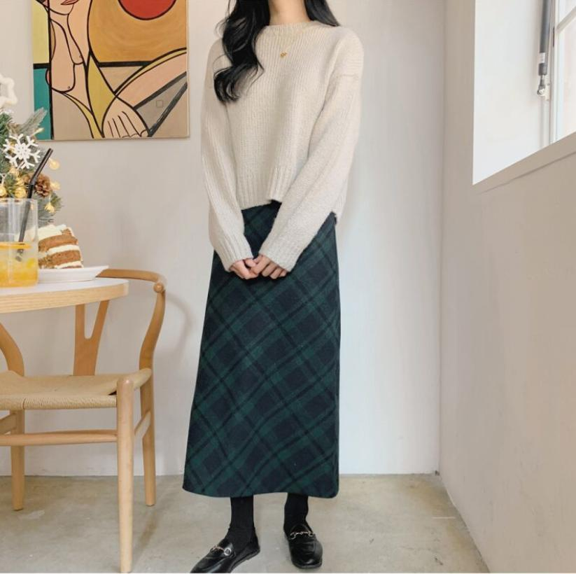 S-XL New Women's Sweaters Knitted Outerwear Sweater Warm Pullovers Autumn Winter Casual Solid Sweater Plaid Pencil Skirt Suits
