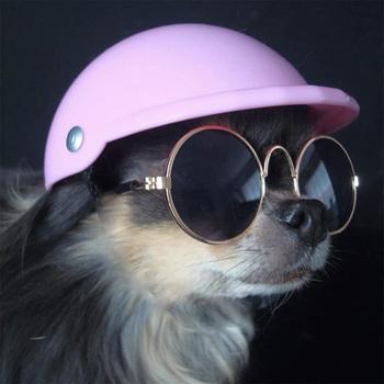 Zabawny kapelusz dla psa kask dla psa motocykl ABS czapka dla małych średnich psów koty buldog francuski akcesoria letnie urodziny stroje imprezowe tanie i dobre opinie NoEnName_Null Stałe S M L Black White Orange Blue Pink Purple
