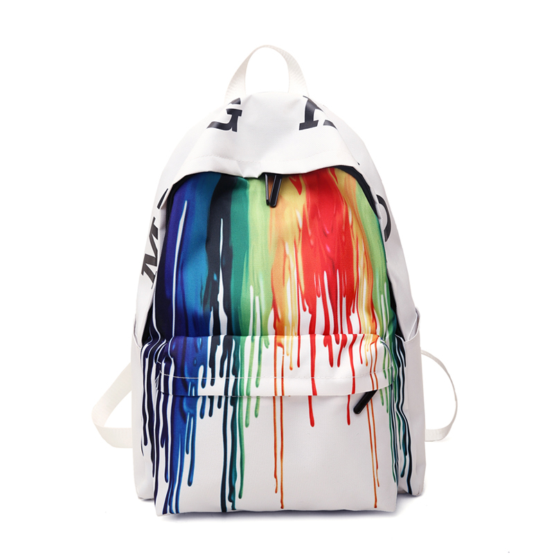 Fashion Women's Backpack Color Striped Canvas School Bag Graffiti Large Capacity Backpack Bag Ladies Travel Bag Ladies Bag