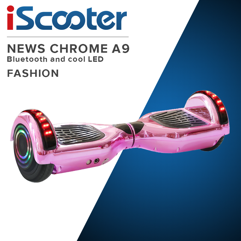 Hoverboard 6.5 Inch Pink Chrome Electric Scooter Smart APP Control Bluetooth UL2722 Skateboard For Kids Steering-wheel Scooter image