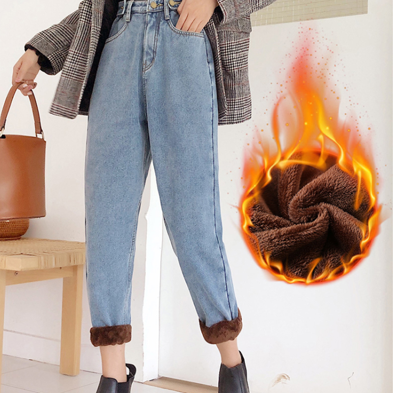Warm Winter Jeans For Women Thicken Fleece Jeans Loose High Waist Boyfriend Jeans Wide Leg Velvet Jeans Female Ankle Denim Pants