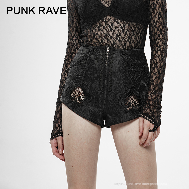 PUNK RAVE Women's Gothic Thorns And Desire Jacquard Shorts Metal Zippers Hollow-out Club Sexy Women Legs Shorts