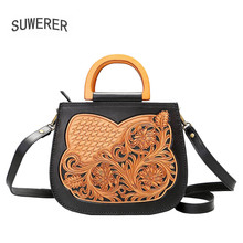 SUWERER 2019 new women genuine leather hand carved fashion luxury real cowhide designer handbags famous brands